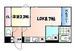 JR仙山線 東照宮駅 徒歩12分の賃貸アパート 1階1LDKの間取り