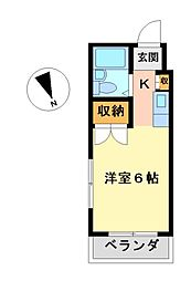 愛知県名古屋市西区市場木町の賃貸マンションの間取り
