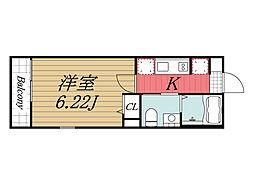 JR総武本線 東千葉駅 徒歩9分の賃貸アパート 3階1Kの間取り