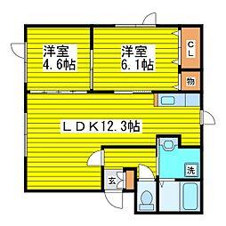 北海道札幌市東区東苗穂四条3丁目の賃貸アパート 2階2LDKの間取り
