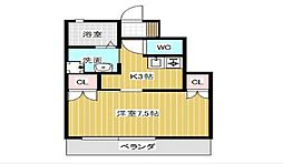 JR山陽本線 東岡山駅 徒歩4分の賃貸アパート 1階1Kの間取り