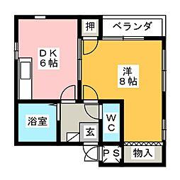 サンハイツ鶴羽[2階]の間取り