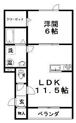 kirariII 2階1LDKの間取り