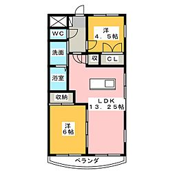 サンセイハイツ社台[4階]の間取り