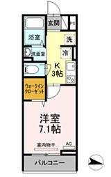 メゾン・ド・キャトルVII 3階1Kの間取り