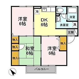 エトワール増田(アパート) 2階3DKの間取り