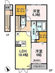 アート クレール A棟 2階2LDKの間取り