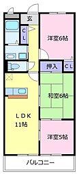 南海高野線 初芝駅 徒歩17分の賃貸マンション 3階3LDKの間取り