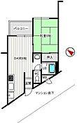 フジタ宇佐美マンションA棟・3階て3階部分 コンパクトな間取りの1DKです