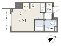 都営新宿線 本八幡駅 徒歩1分の賃貸マンション 9階ワンルームの間取り
