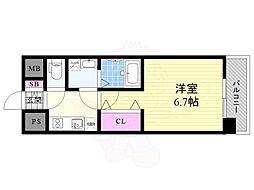 おおさか東線 JR淡路駅 徒歩3分の賃貸マンション 2階1Kの間取り