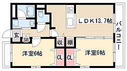 愛知県名古屋市緑区鳴海町字明願3丁目の賃貸マンションの間取り