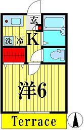 埼玉県越谷市蒲生寿町の賃貸アパートの間取り