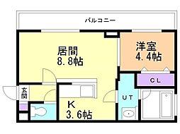アンジュ・ミニョン 3階1LDKの間取り