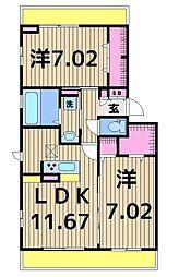 キャレ・メゾンI[1階]の間取り