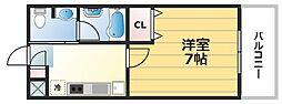 松尾ハイツ寝屋川 2階1Kの間取り