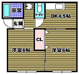 南海高野線 金剛駅 徒歩18分の賃貸アパート 2階2DKの間取り