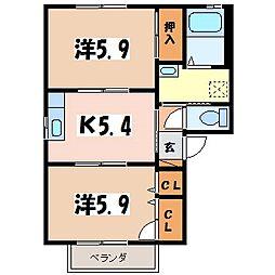 JR大糸線 信濃松川駅 徒歩7分の賃貸アパート 2階2Kの間取り