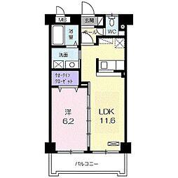 さくらマンション 4階1LDKの間取り