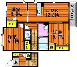岡山県岡山市南区大福丁目なしの賃貸アパートの間取り