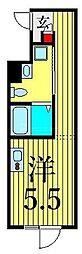 JR山手線 鶯谷駅 徒歩6分の賃貸マンション 2階ワンルームの間取り