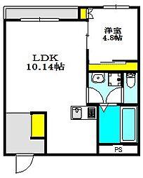 レジデンスコート江坂 1階1LDKの間取り