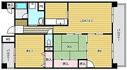 キングロードハイツ[3階]の間取り