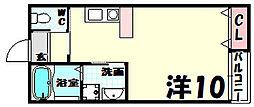 グランシャリオ山本通2 1階ワンルームの間取り