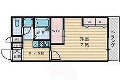 レオパレスプランタン四番館 1階1Kの間取り