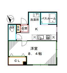 都営大江戸線 新江古田駅 徒歩9分の賃貸マンション 1階1Kの間取り