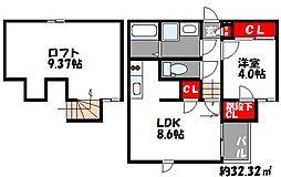 西鉄貝塚線 名島駅 徒歩4分の賃貸アパート 2階1LDKの間取り