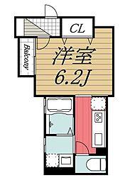 JR総武線 稲毛駅 徒歩10分の賃貸アパート 2階1Kの間取り