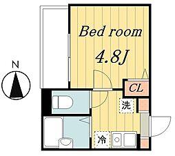 東京メトロ千代田線 北綾瀬駅 徒歩15分の賃貸アパート 2階1Kの間取り