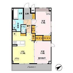 ベルフルール壱番館[2階]の間取り