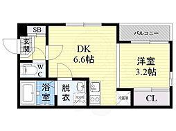 仮称)ハーモニーテラス大宮1丁目B棟 2階1DKの間取り