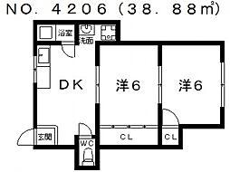 コーポ阪南町[4階]の間取り