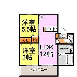 兵庫県姫路市玉手1丁目の賃貸アパートの間取り