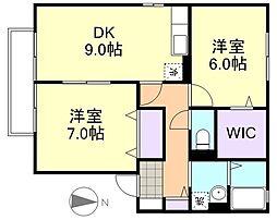 クリエンテA棟[2階]の間取り