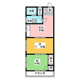 グリーンハイツオオシマ[2階]の間取り