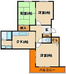 シャトー西明石[3階]の間取り