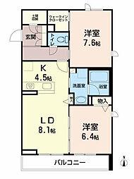 ベレオ愛子中央 1階2LDKの間取り