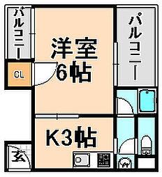 兵庫県伊丹市西台5丁目の賃貸マンションの間取り