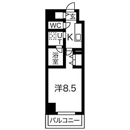 リシュドール名駅南 12階1Kの間取り