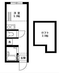 上矢部アパートメントB棟(カミヤベアパートメントBトウ)[1階]の間取り