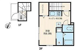 JR京浜東北・根岸線 大森駅 徒歩14分の賃貸アパート 2階ワンルームの間取り