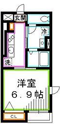JR中央本線 三鷹駅 徒歩10分の賃貸マンション 2階1Kの間取り
