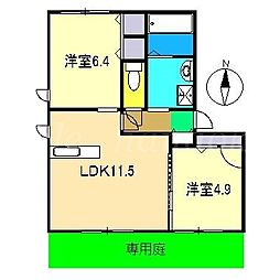 シティクレール A棟[1階]の間取り