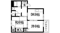 兵庫県西宮市上ケ原二番町の賃貸アパートの間取り