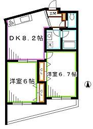 JR中央本線 吉祥寺駅 バス13分 杏林大学病院前下車 徒歩1分の賃貸マンション 3階2DKの間取り