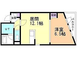 RIVERSIDE TASK KASUGA 3階1LDKの間取り